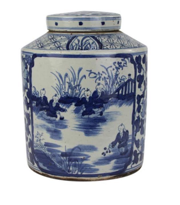 Large Figurine and Floral Flat Top Tea Jar