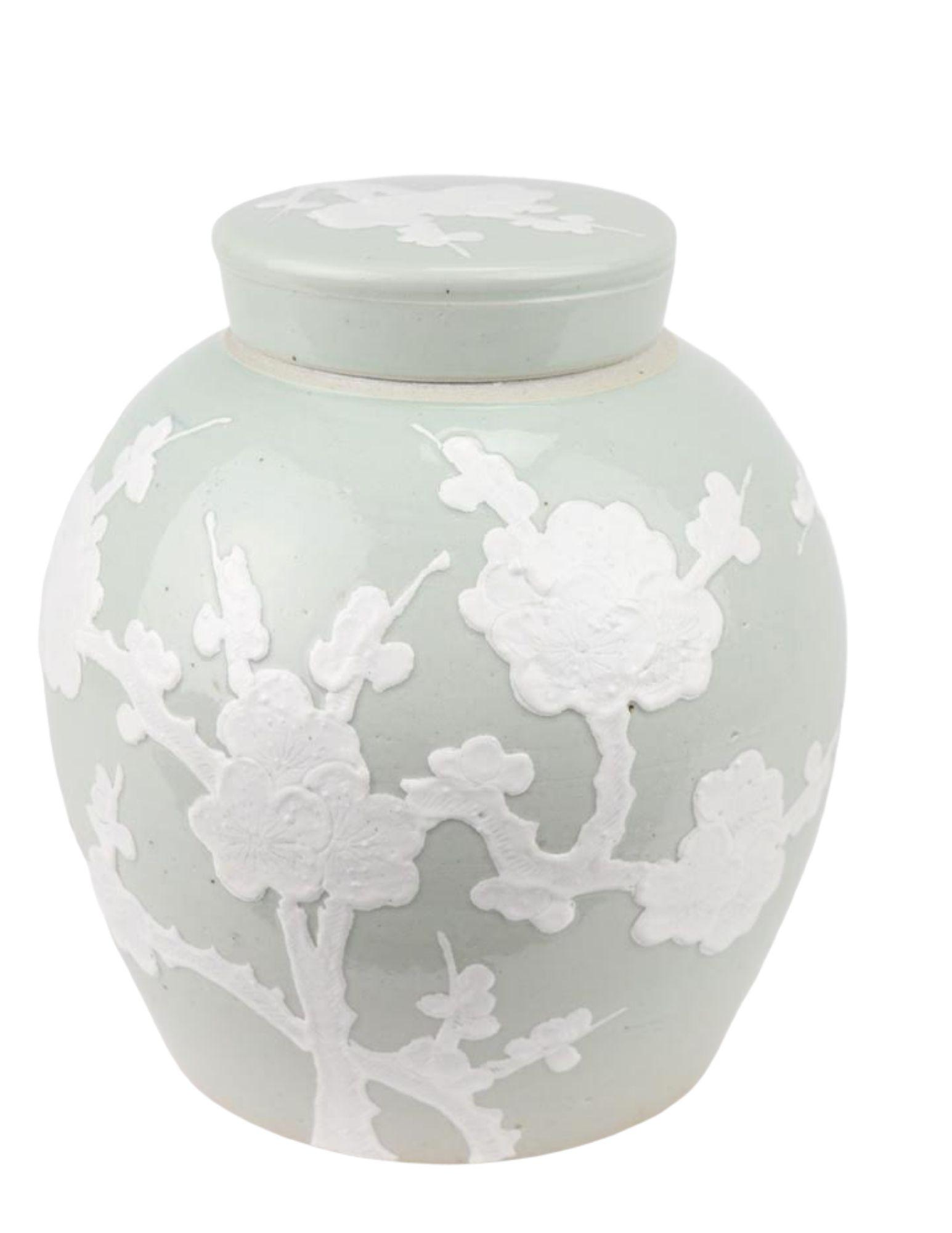 Incredible new flat top pastel ginger jar in pale green