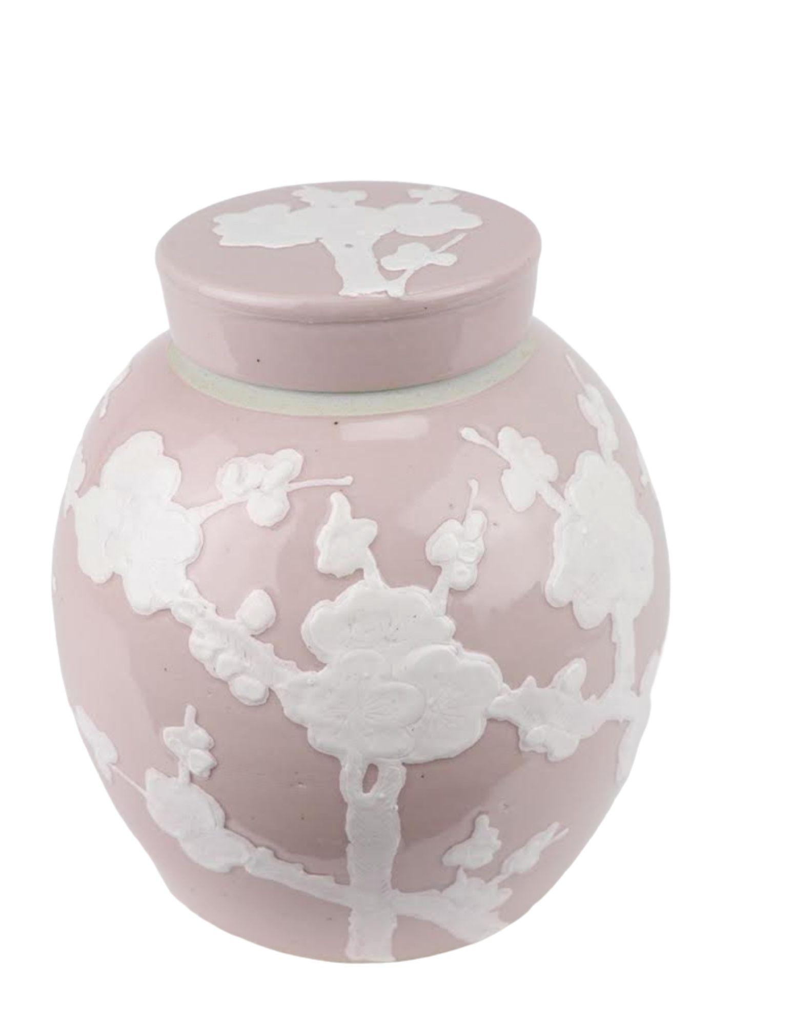 Incredible new flat top pastel ginger jar in pale pink