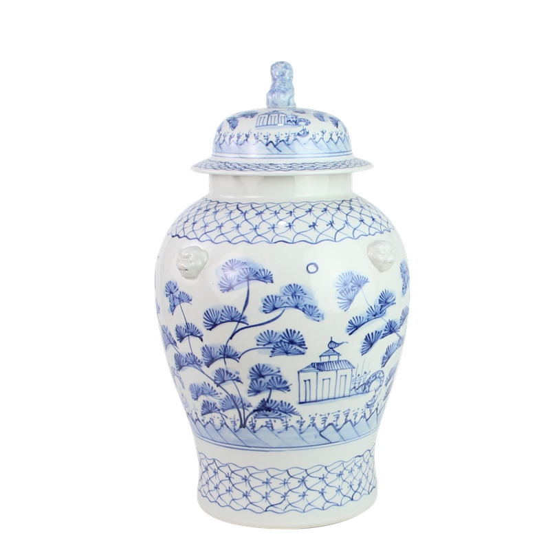 Fabulous new large village scene ginger jar