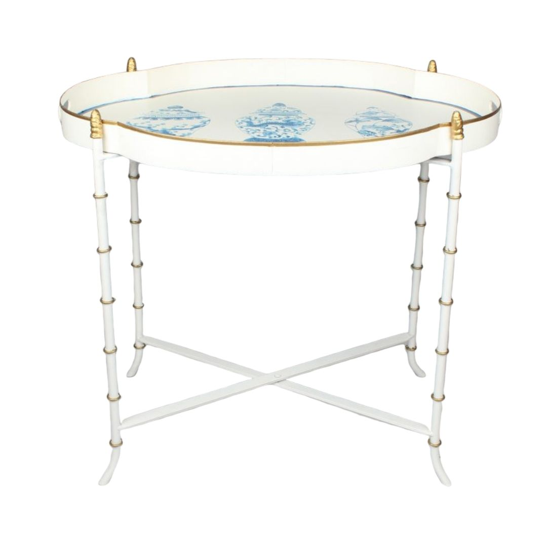 Stunning scalloped ivory/blue ginger jar tray table