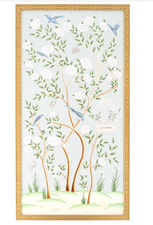 Spectacular handpainted chinoiserie mural pattern #3 (pale green)