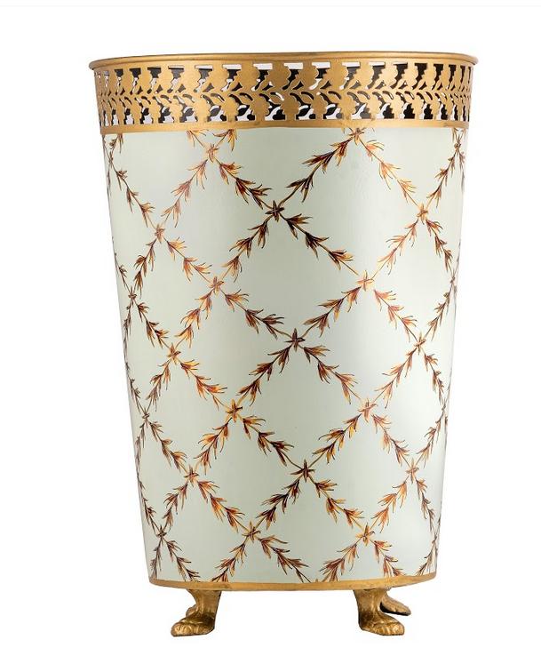 Elegant trellis pale green/gold wastepaper basket