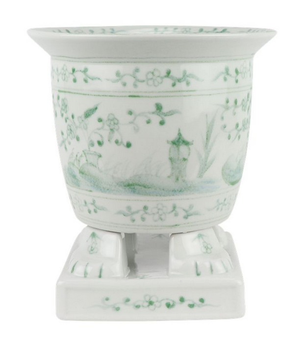 Incredible new footed porcelain footed planter (green)