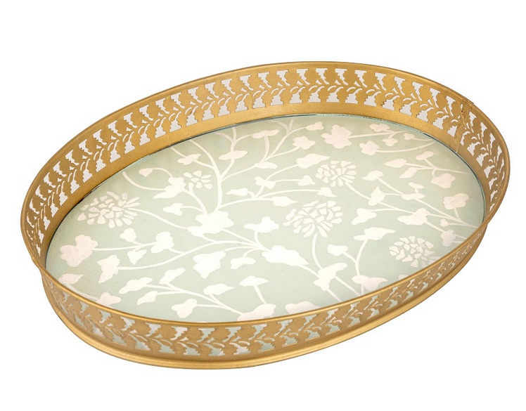 Stunning new pierced handpainted tole tray in pale green/gold