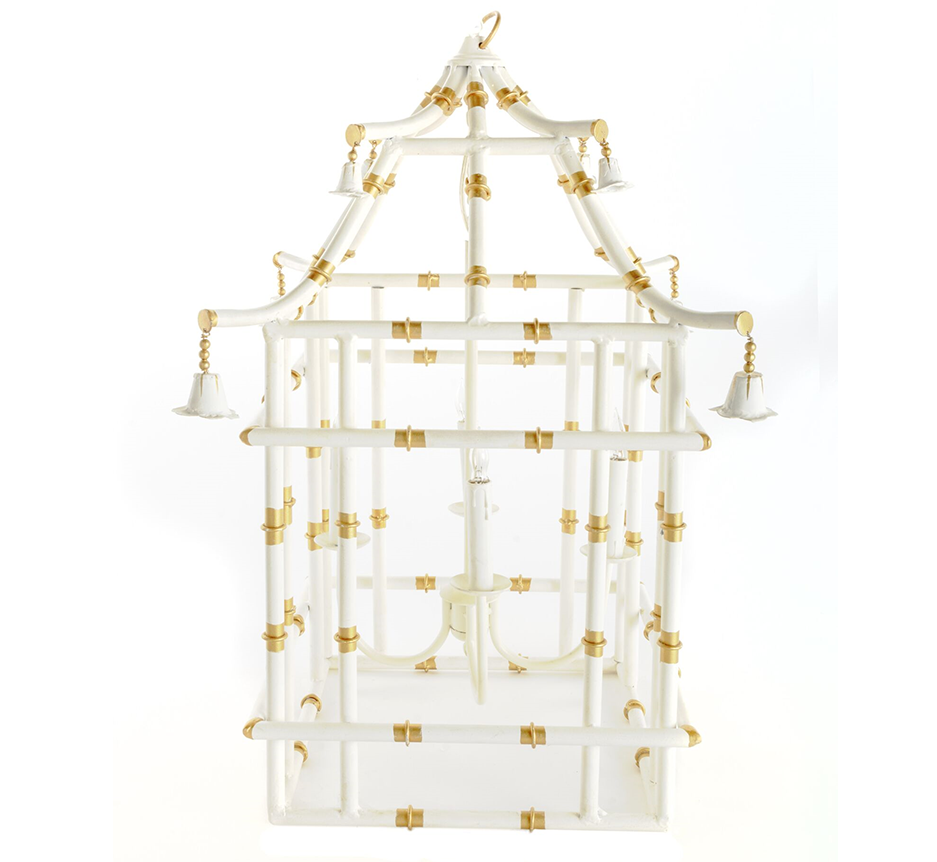 Ivory with gold bamboo lantern (2 sizes)