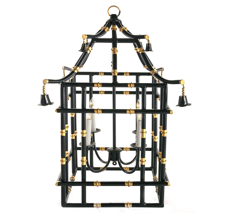 Black with gold bamboo lantern (2 sizes)