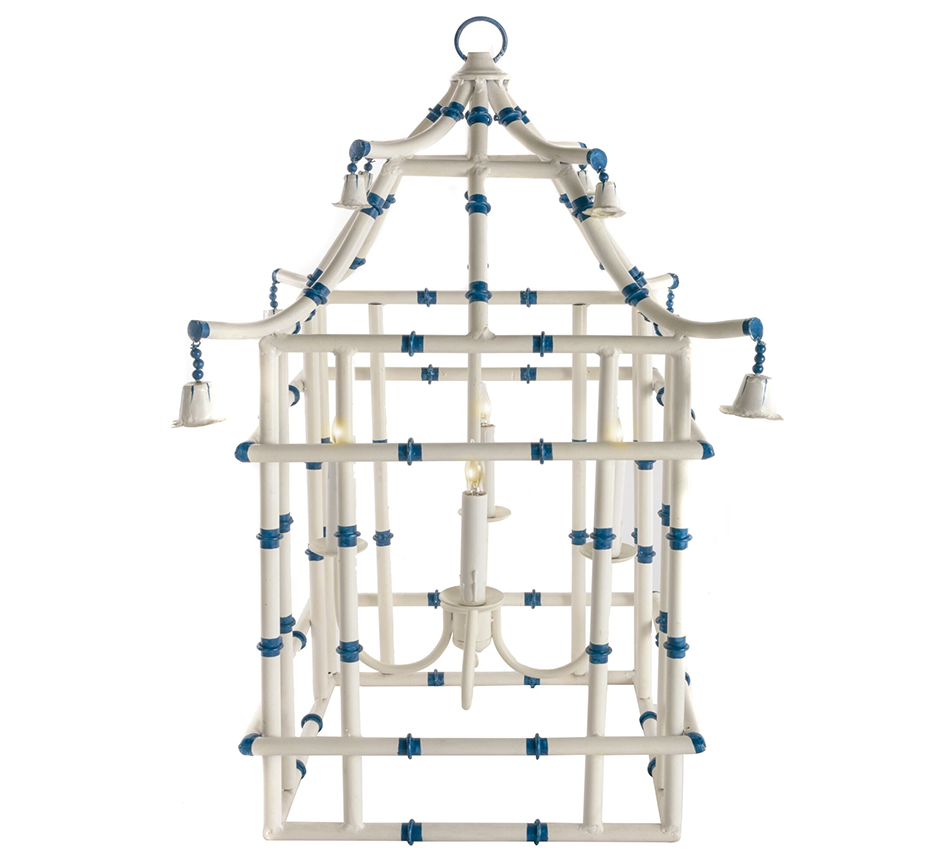 Ivory with blue bamboo lantern (2 sizes)