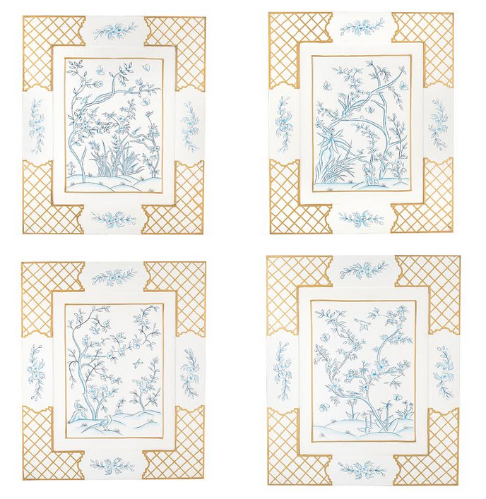 Incredible new chinoiserie ivory/blue handpainted art