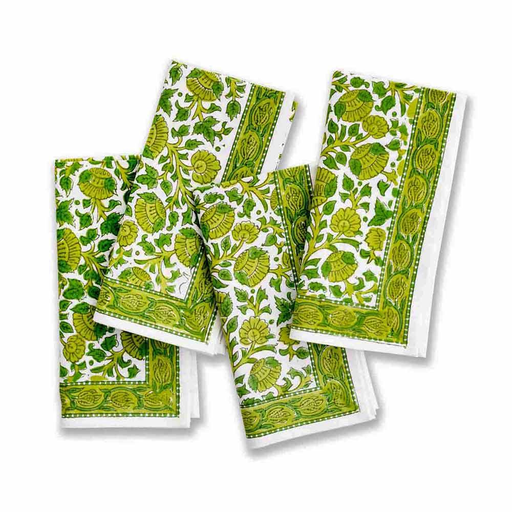 Beautiful new Green blossom napkins (set of 4)