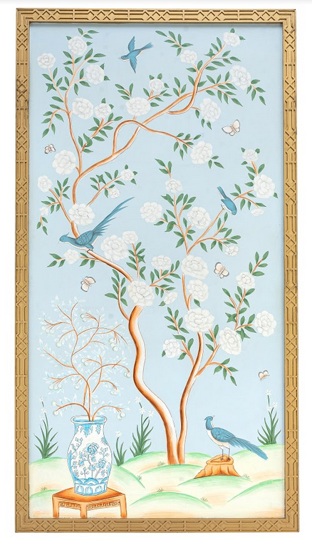 Fabulous new handpainted pale blue chinoiserie framed panel