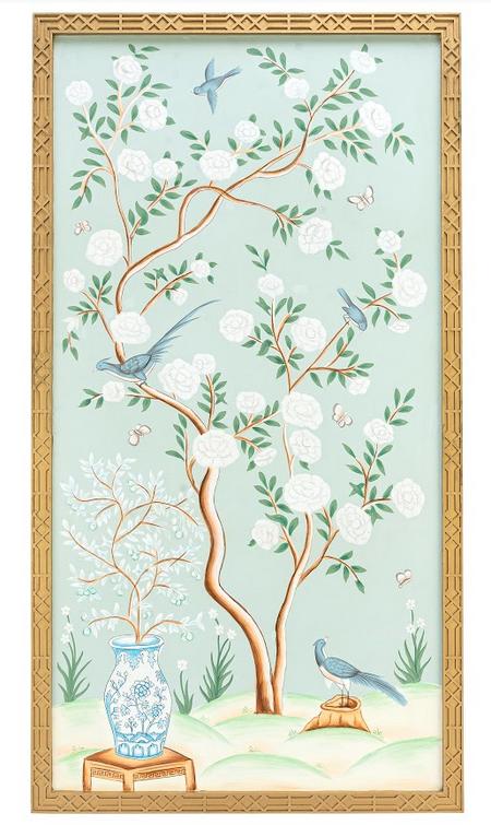 Fabulous new handpainted pale green chinoiserie framed panel