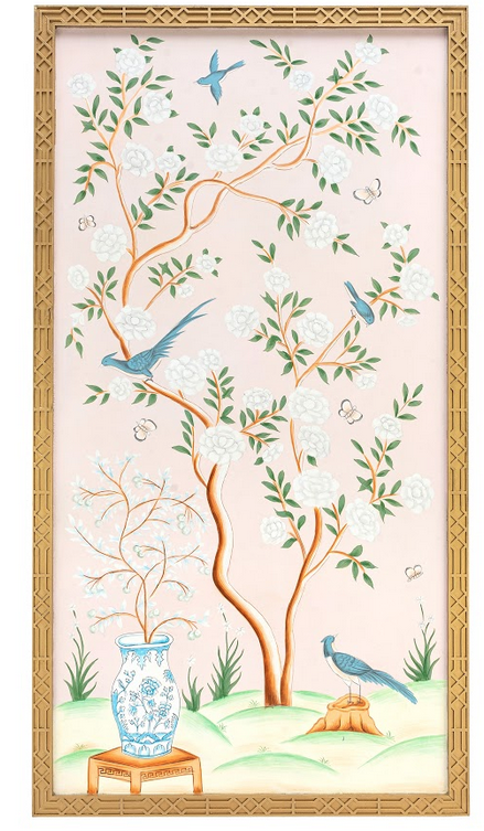 Fabulous new handpainted pale pink chinoiserie framed panel