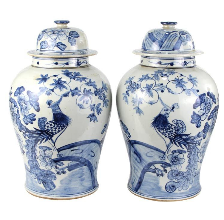 Incredible pair of bird ginger jars