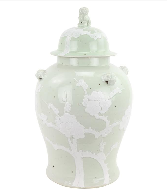 Incredible new pastel ginger jar in pale green