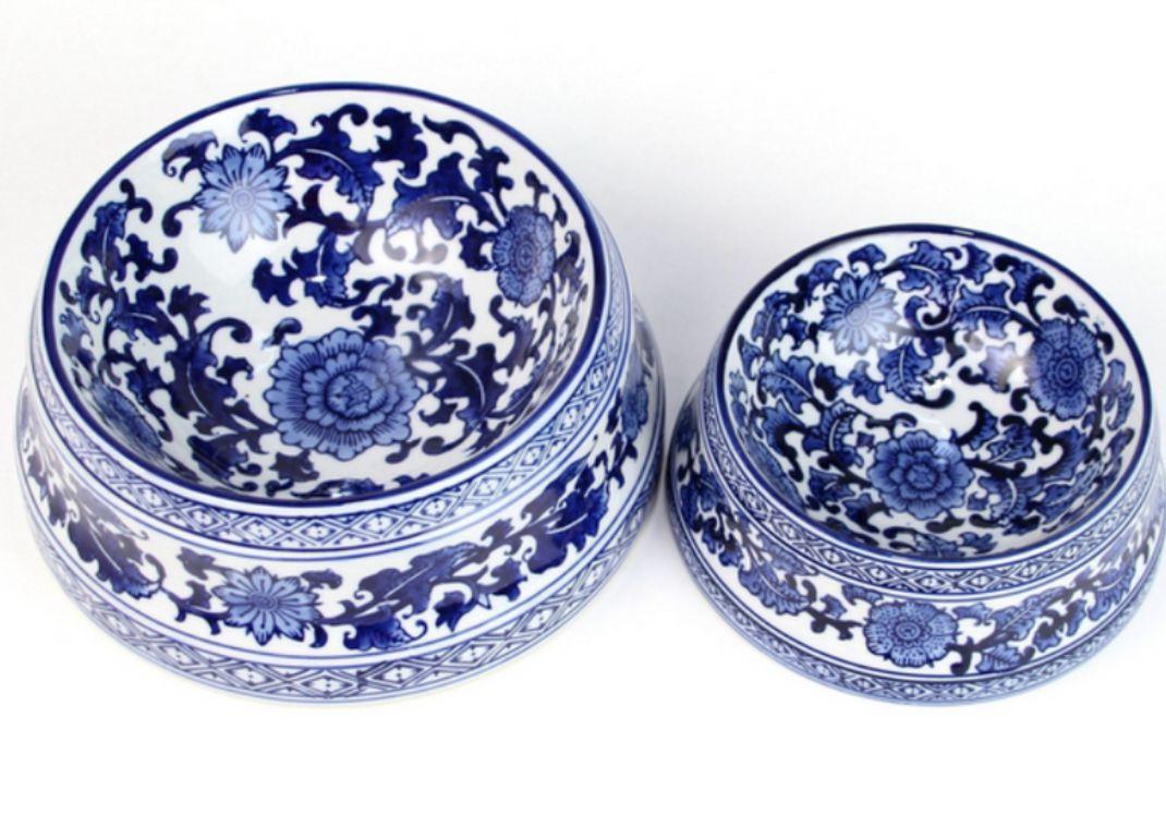 Stunning blue and white porcelain pet bowls (Large)