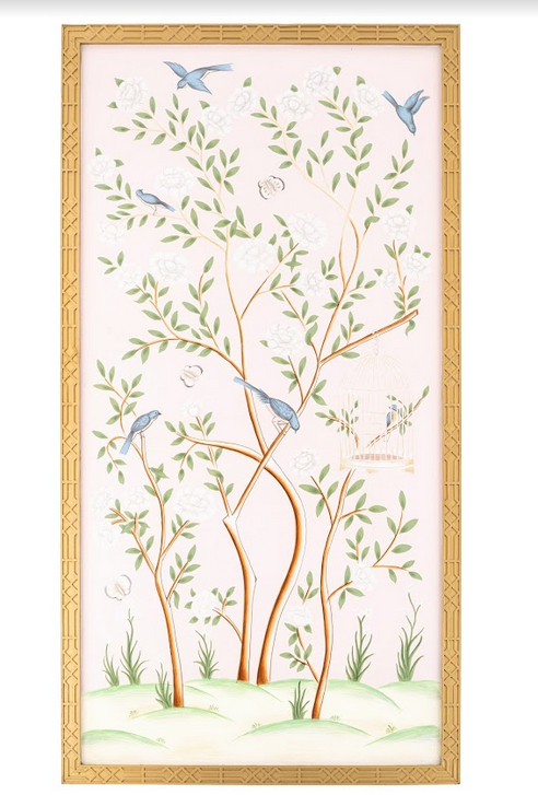 Spectacular handpainted chinoiserie mural pattern #3 (pink)