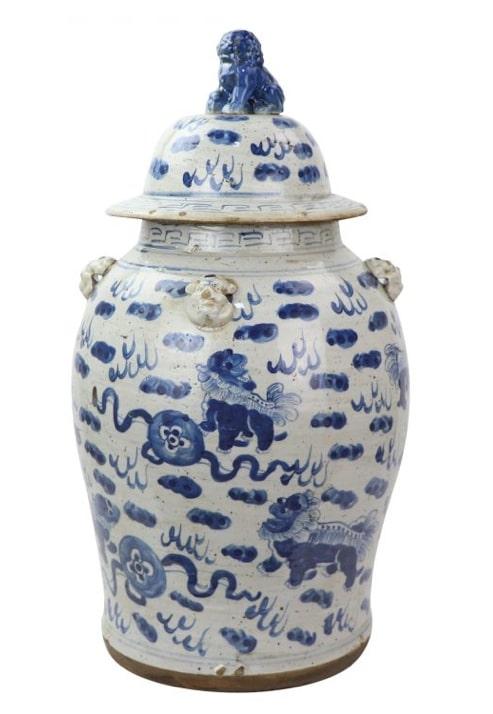 Stunning new antiqued foo dog jar
