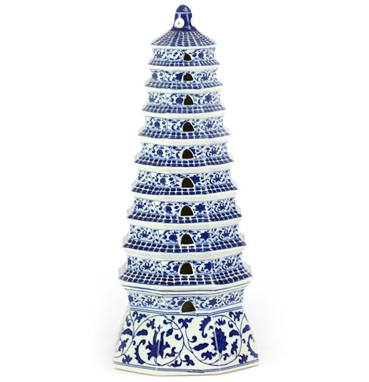 Stunning Blue and White mid sized Pagoda