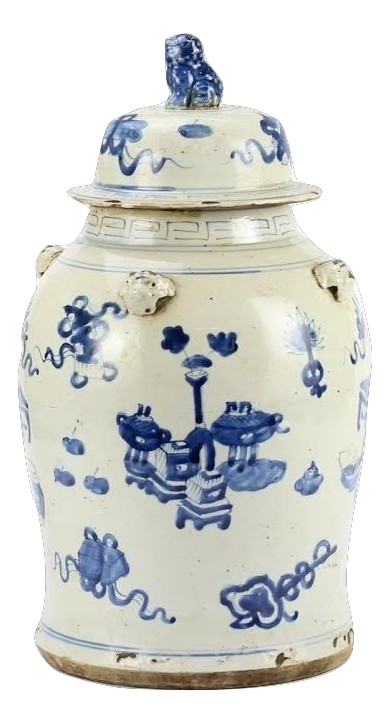 Open field design ginger jar