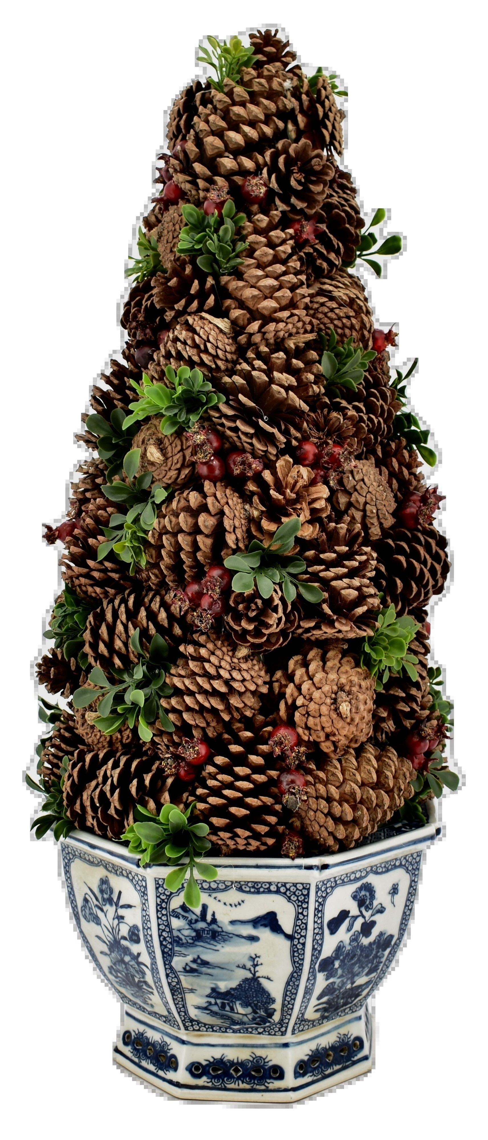 Fabulous Pine Cone Topiary in Hexagon Planter