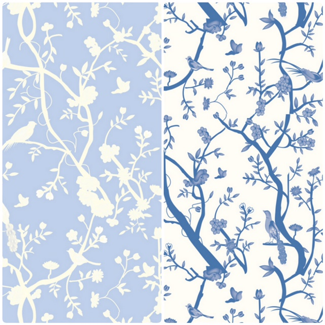 Reversible blue and white chinoiserie giftwrap rolls (2 Rolls)