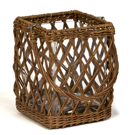 Incredible wicker with glass insert cooler/planter
