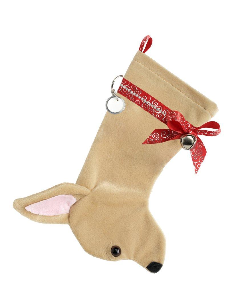 Chihuahua shaped dog holiday stocking