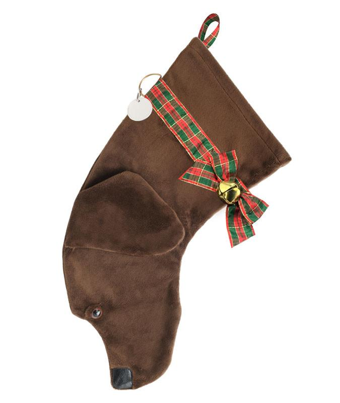 Chocolate Lab shaped dog holiday stocking