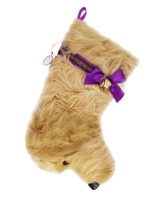 Doodle shaped dog holiday stocking