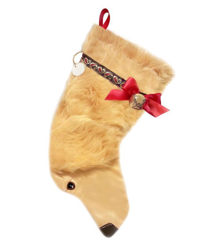 Golden Retriever shaped dog holiday stocking