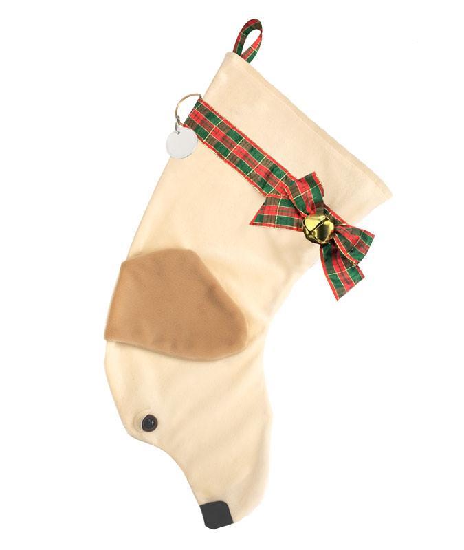 Yellow Lab shaped dog holiday stocking