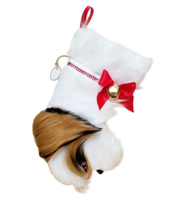 Shih Tzu shaped dog holiday stocking