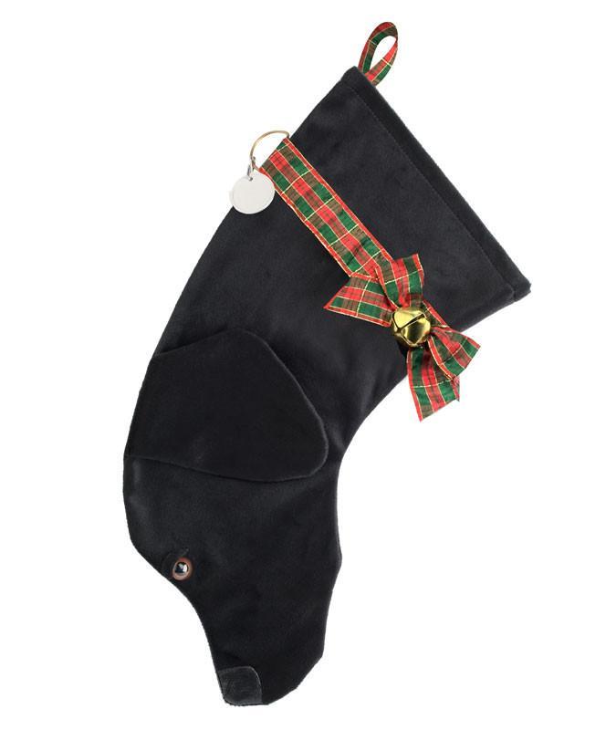 Black Lab shaped dog holiday stocking
