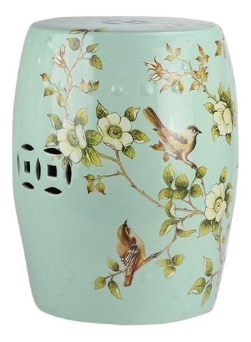 Incredible chinoiserie pale green garden seat.