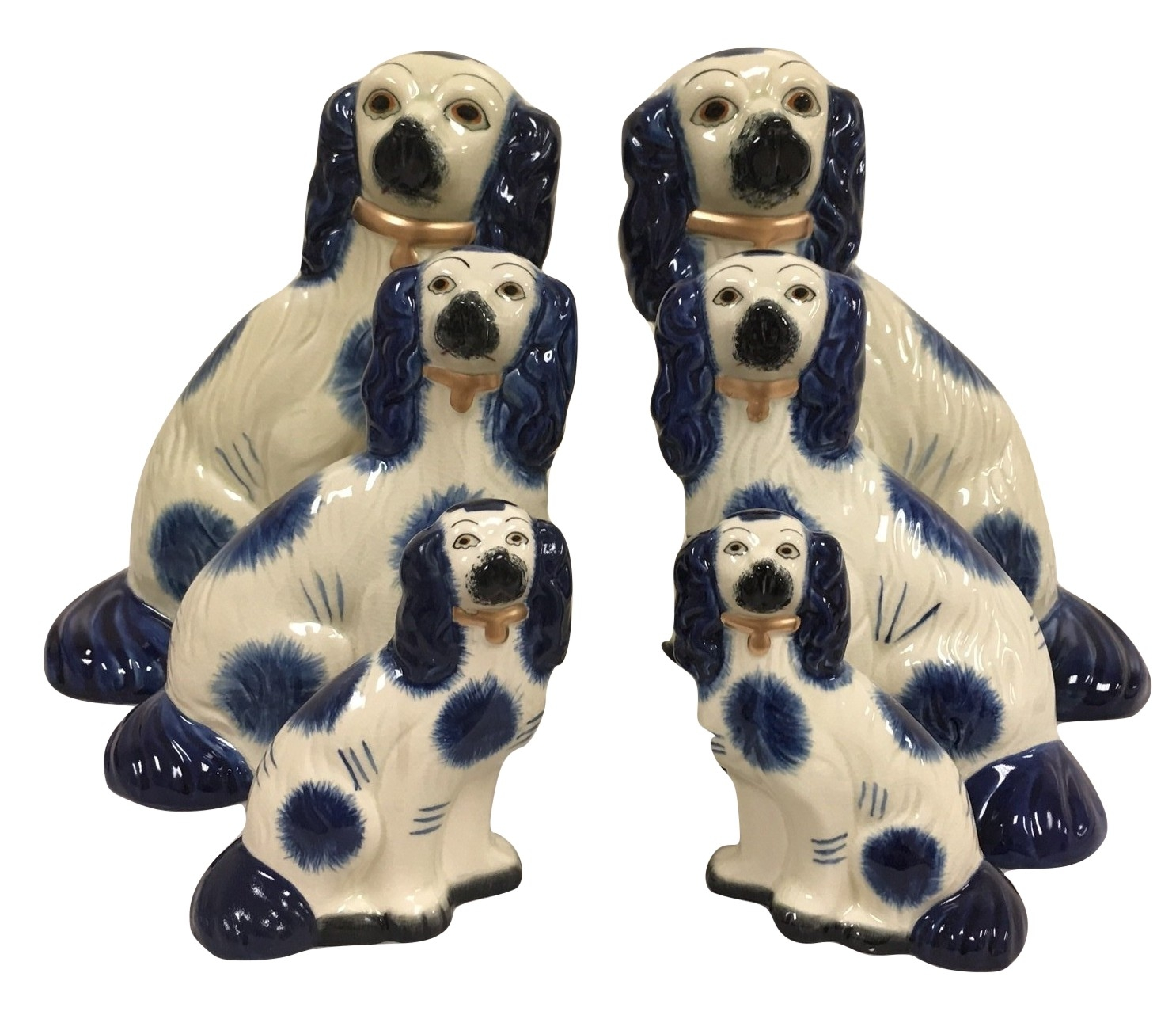 Fabulous pair of blue/ivory Staffordshire dogs (3 Sizes)