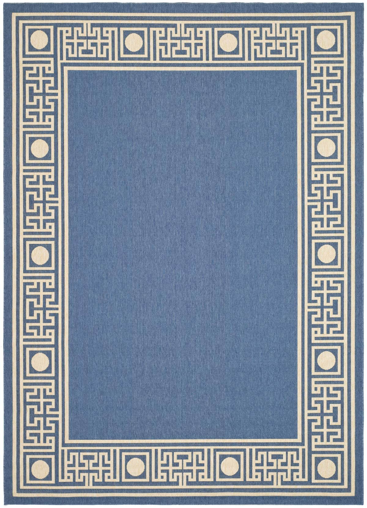 Stunning Greek key blue/ivory indoor/outdoor rug