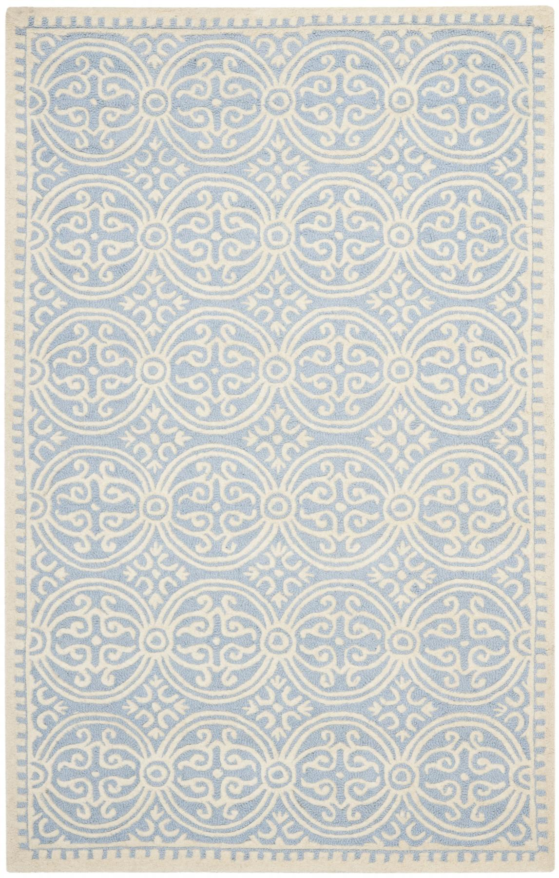 Beautiful ivory/pale blue all over pattern rug