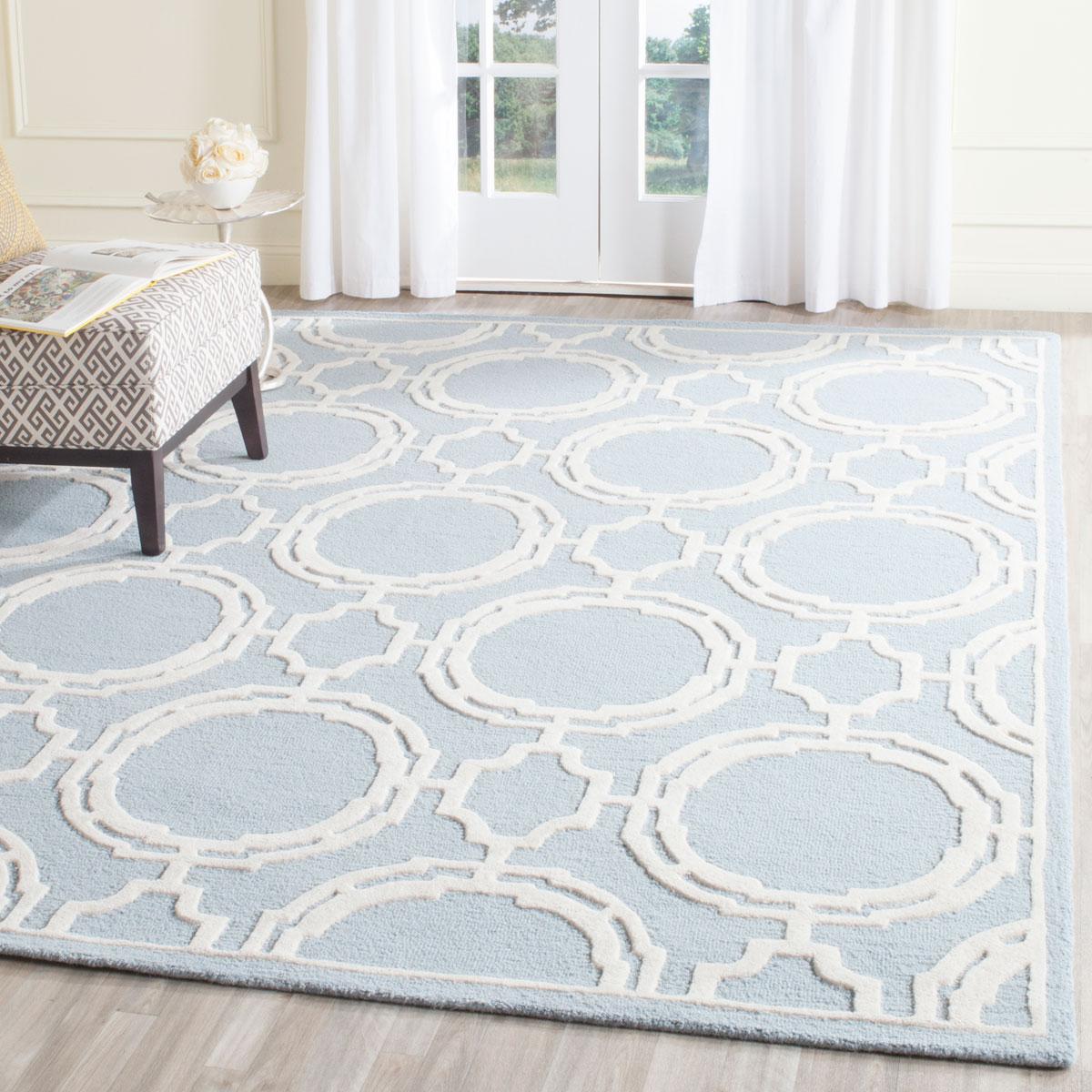 Gorgeous Pale Blue/ivory Geometric/trellis Rug