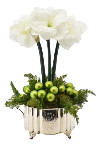 Fabulous 3 stem white amaryllis and ornaments with greens arrangement