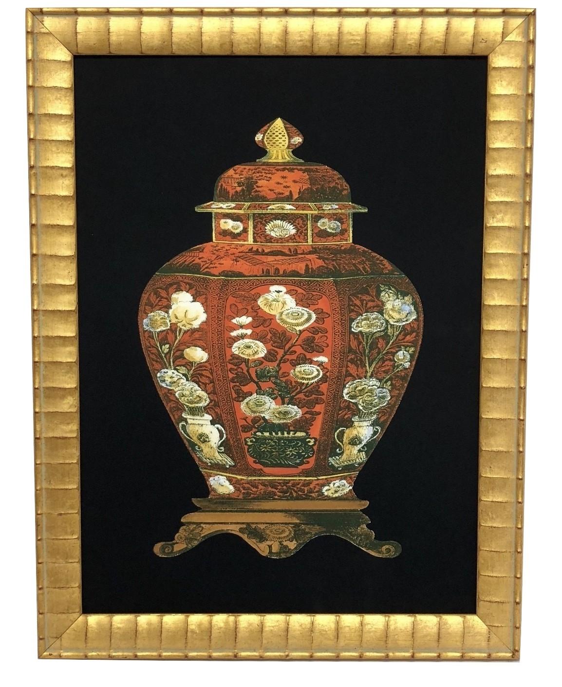 NEW! Incredible framed red ginger jar print #1