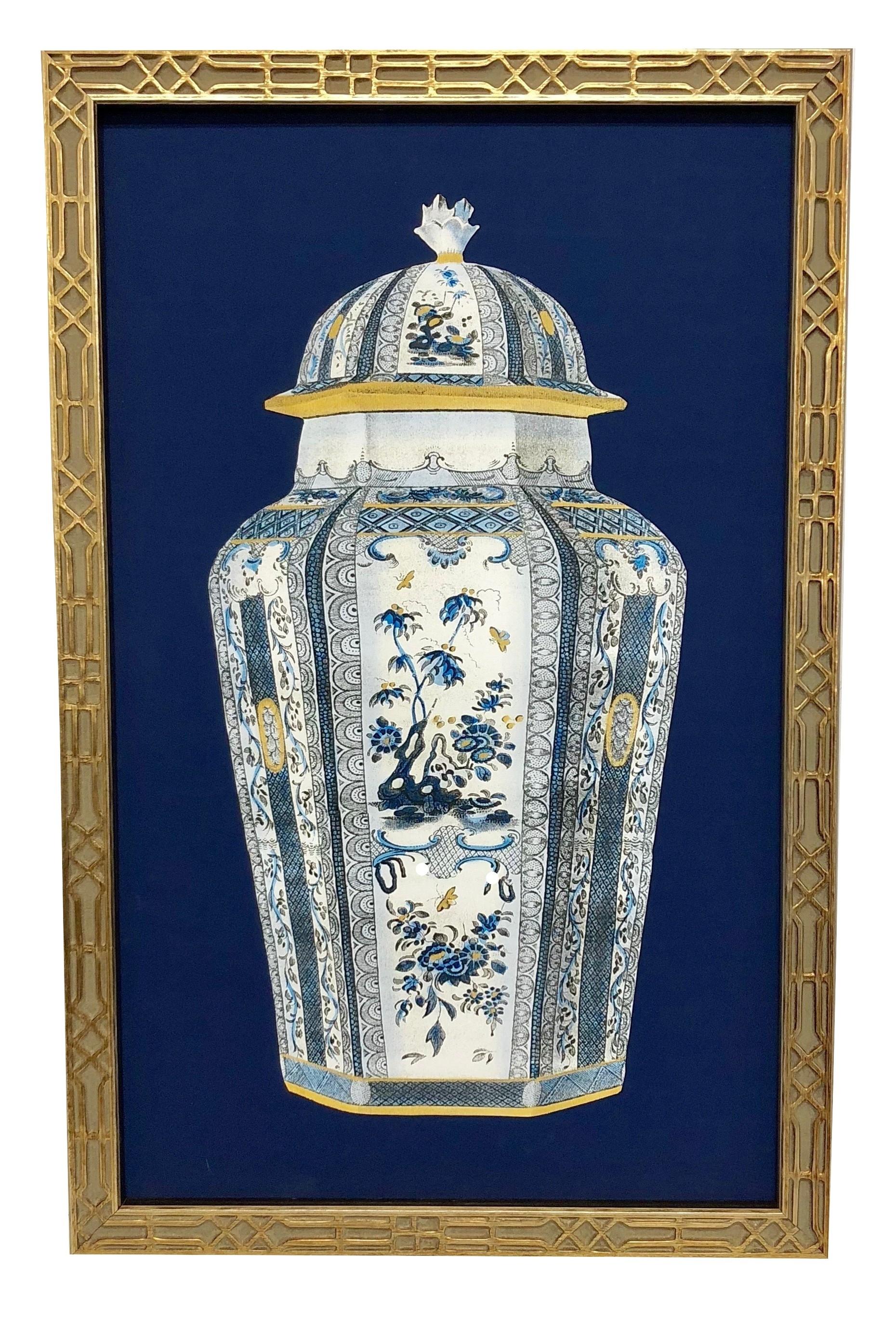 NEW! Incredible framed blue/white ginger jar print #1