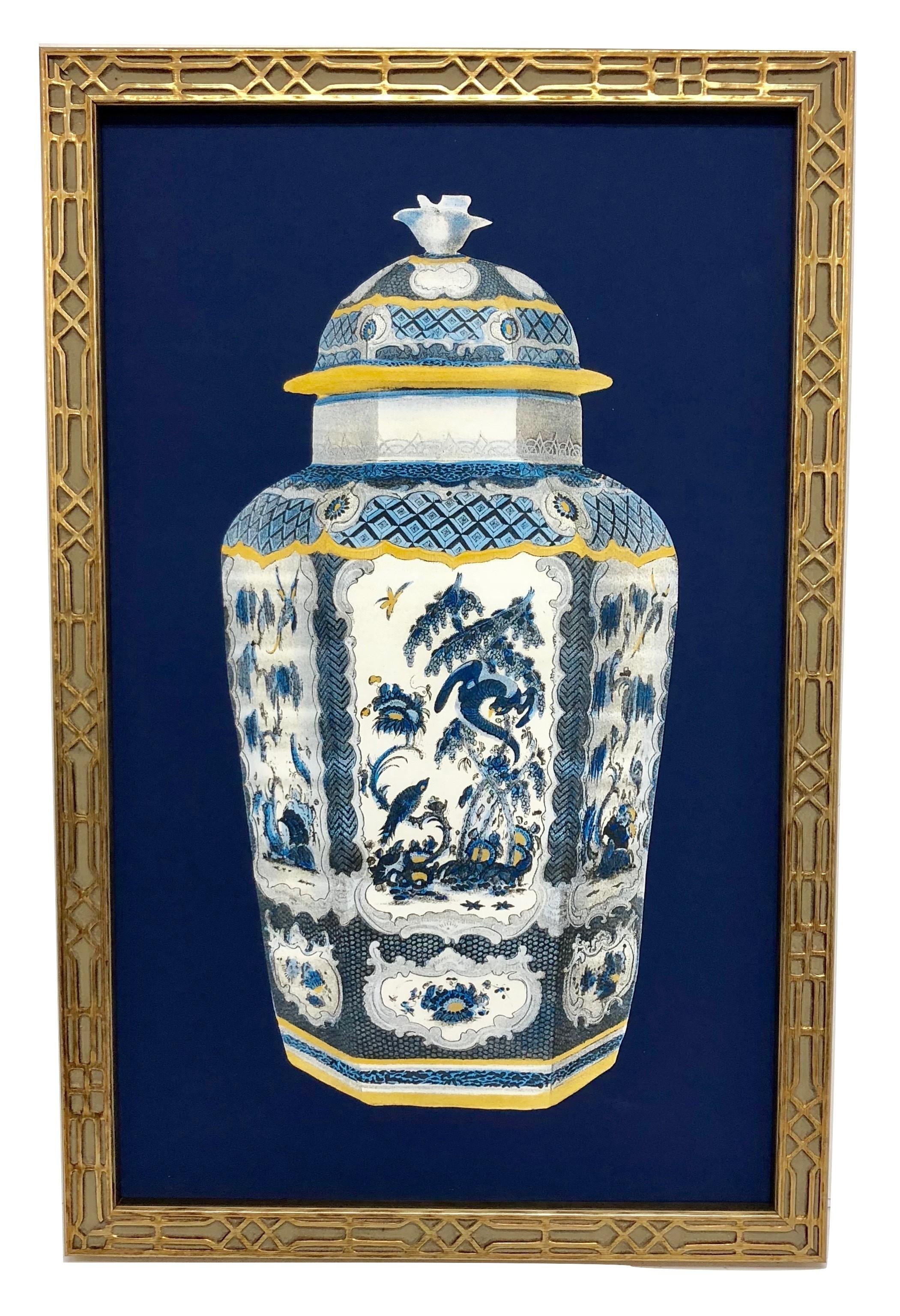 NEW! Incredible framed blue/white ginger jar print #2