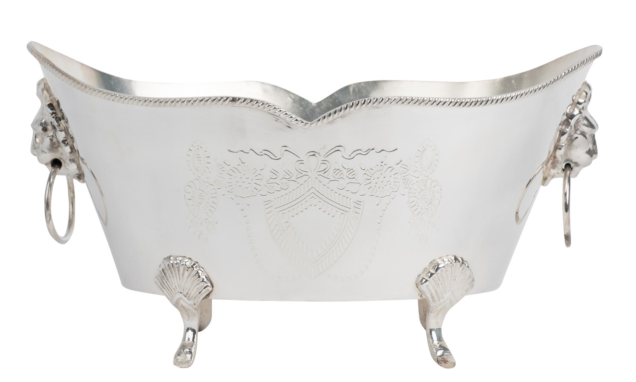 Elegant Etched Silver Planter with Lion Rings