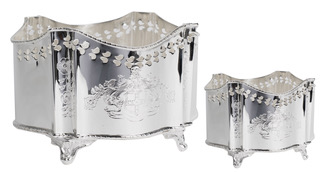 Large Etched Pierced Silver Planter