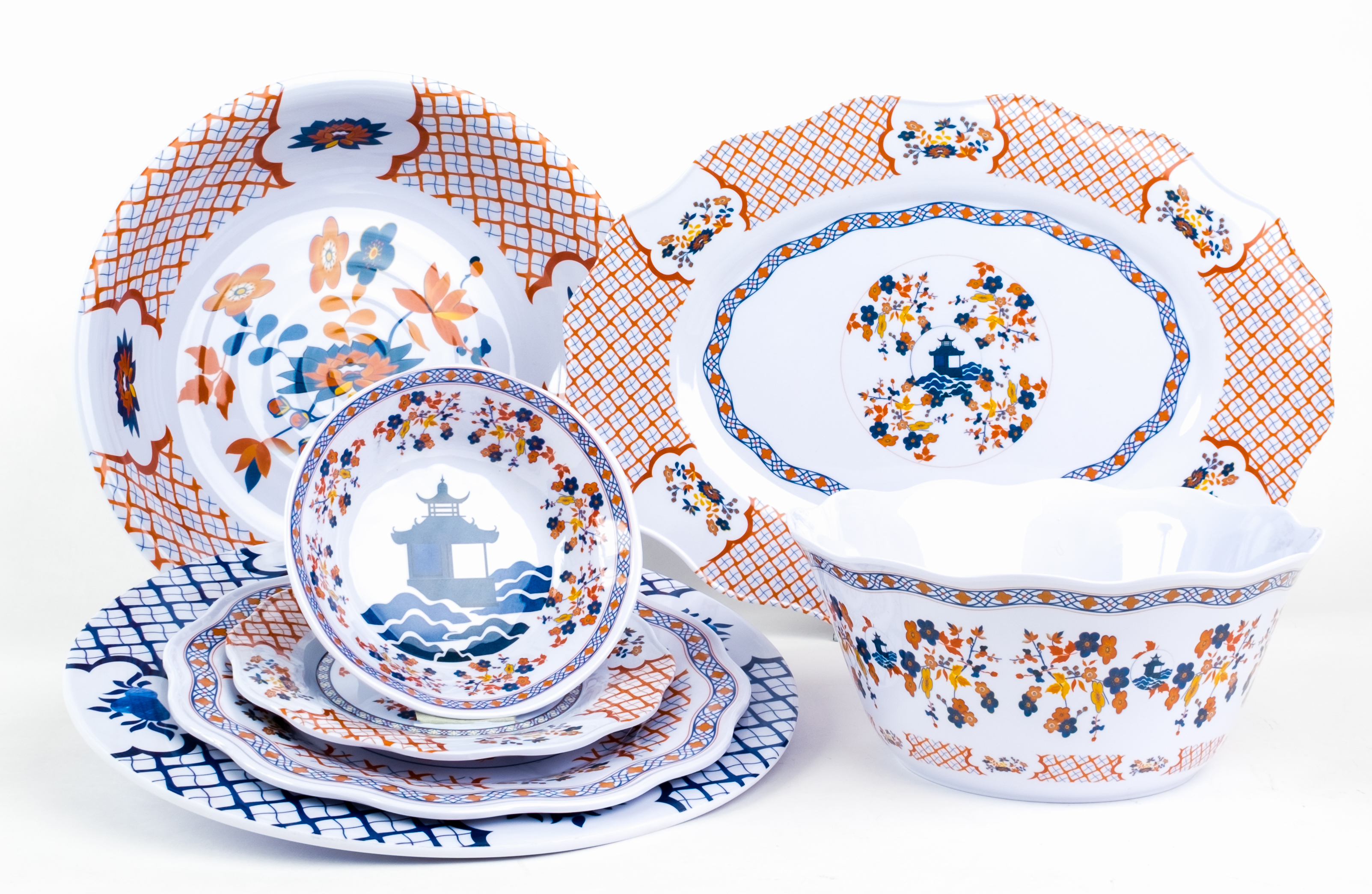 NEW! Fabulous orange/blue pagoda melamine (Starting at $22)