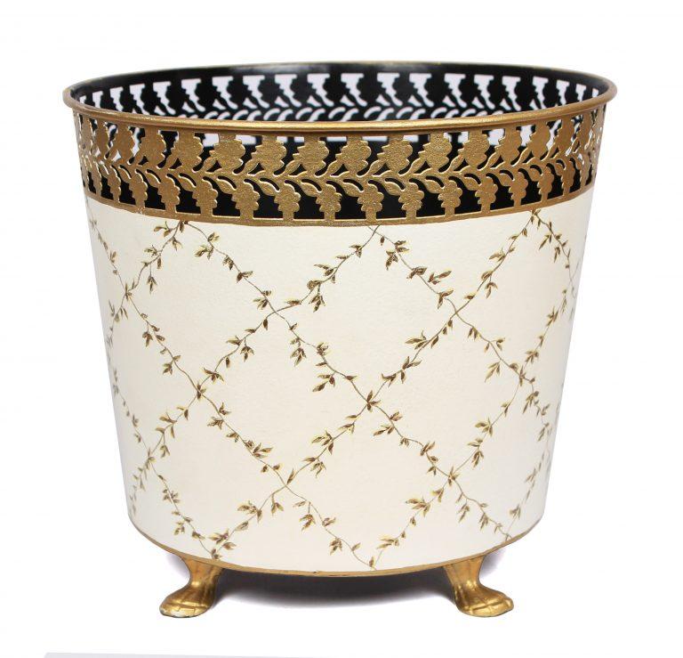 Elegant trellis ivory/gold footed planter