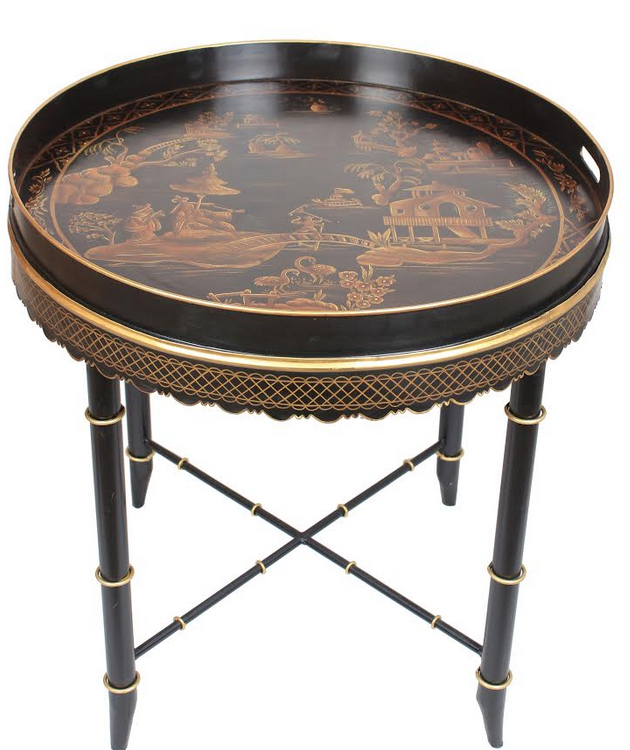 Tray Table Black & Gold