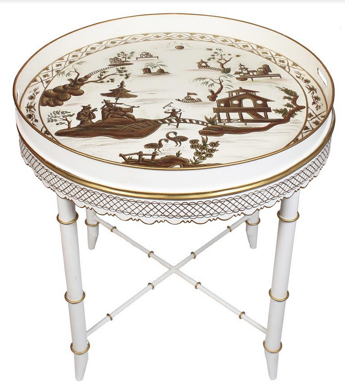 Stunning Hand Painted Chinoiserie Tray Table In Ivory / Gold