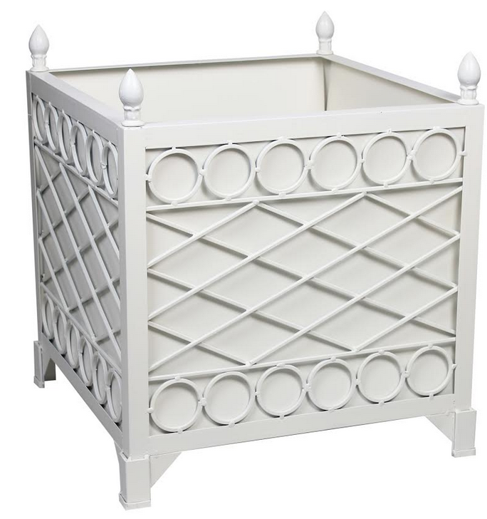 NEW!  IVORY  TRELLIS/CIRCLE PROVENCE PLANTER